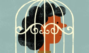 Illustration of woman's head in a birdcage