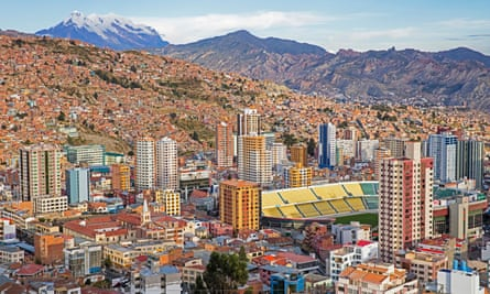 Aerial view over the city La Paz showing its business district and Estadio Hernando Siles sports stadium