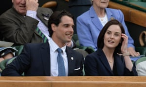 Michelle Dockery and John Dineen in the royal box at Wimbledon's centre court last year.