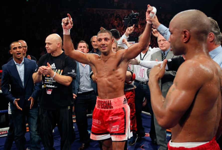 Brook celebrates victory over Carson Jones at the Motorpoint Arena in Sheffield.