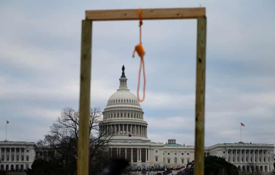 Trump supporters left a noose on a makeshift gallows at the US Capitol on 6 January.