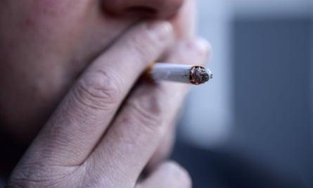 Closeup of man smoking a cigarette