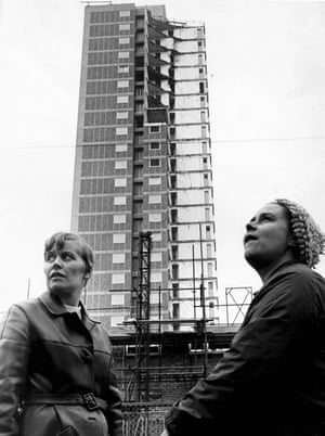 Former residents standing near to Ronan Point flats, November 1968.(Archive ref: GUA/6/9/1/1/H).