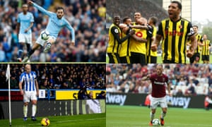 (Clockwise from top left): Manchester City's Bernardo Silva; Troy Deeney and Watford celebrate; Marko Arnautovic; Huddersfield's Aaron Mooy takes a corner.