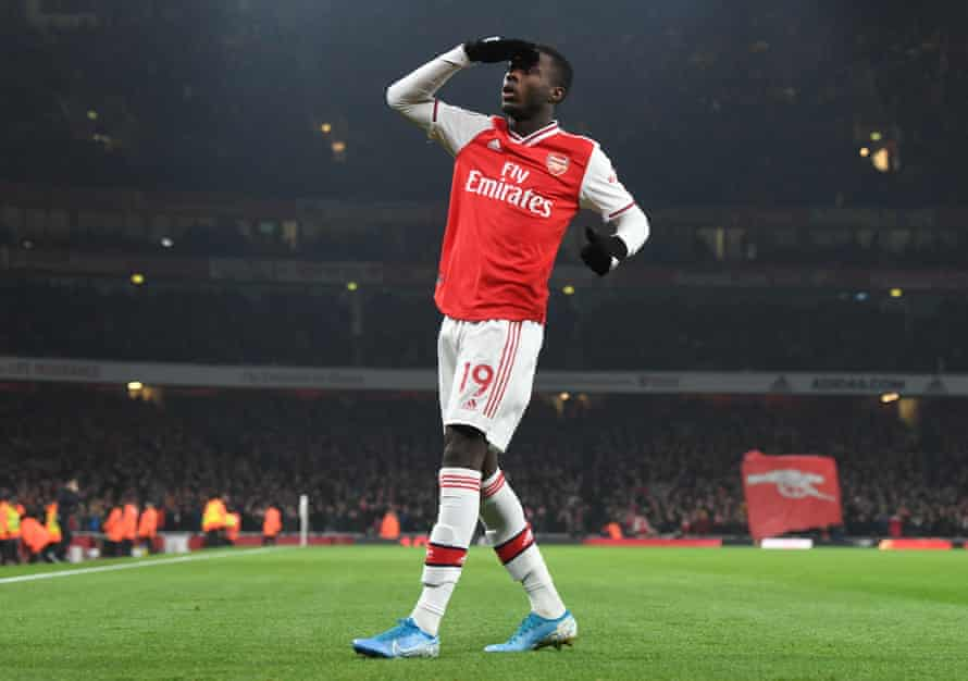 Nicolas Pepe celebrates scoring for Arsenal during the Premier League match with Manchester United on 1 January.