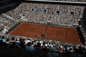 The crowd watch Rafael Nadal playing Diego Schwartzman.