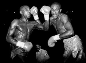 Sheffield's Herol Graham (left) and New York's Mike McCallum feel each other's punching power during the vacant WBA World Middleweight Championship fight in May 1989. McCallum beat Graham on a split points decision.
