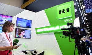 Russia Today (RT) broadcaster at the Saint Petersburg International Economic Forum on May 24, 2018 in Saint Petersburg.