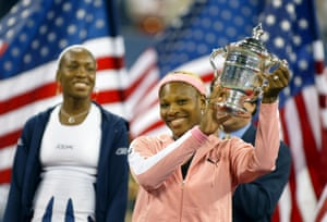 Serena Williams with the US Open title in September 2002.