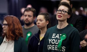 Green party supporters at the announcement of Caroline Lucas's re-election in Brighton Pavilion.