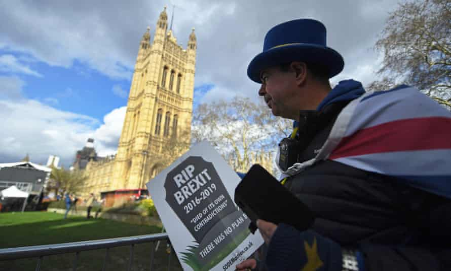 A pro-EU protester outside parliament on Thursday, before MPs voted in favour of delaying Brexit.