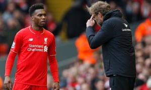 Liverpool manager Jürgen Klopp talks to Daniel Sturridge, but the England striker's time at Anfield looks to be over after he joined West Bromwich Albion on loan.