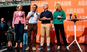 Party leaders, from left: Ebba Busch Thor, Christian Democrats; Ulf Kristersson, Moderates; Jan Björklund, Liberals; and Annie Lööf, Centre party, at a rally in Stockholm.