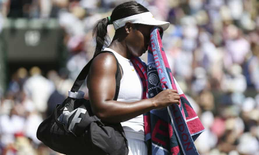 Sloane Stephens shows her dejection after a straight-sets defeat against Donna Vekic in the first round at Wimbledon.