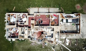 A home west of Celina, Ohio had its roof torn off by a tornado on Monday.