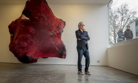 Anish Kapoor at his new exhibition at the Lisson Gallery in Marylebone, London