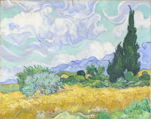 Van Gogh's A Wheatfield, With Cypresses, 1889.