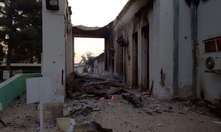 The Medecins Sans Frontieres (MSF) hospital in Kunduz on Saturday morning after it was hit by an airstrike