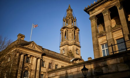 Preston town hall and the Harris Museum and Art Gallery