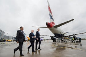 Phillip Hammond visiting London City Airport (right) with Minister for Aviation Lord Ahmad (left) and Declan Collier CEO of London City Airport (middle)