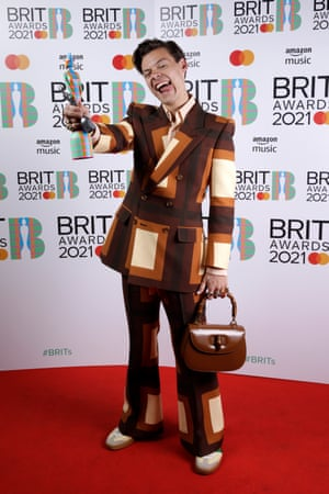 Harry Styles with the award for British single.