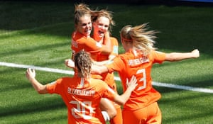 Vivianne Miedema is mobbed after the Dutch opener.