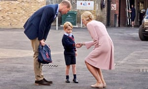 Prince George arrives with the Duke of Cambridge at Thomas's Battersea in London.