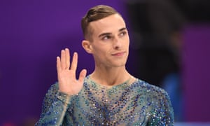 Adam Rippon is introduced along with the rest of the third skating group in the men's free skate.