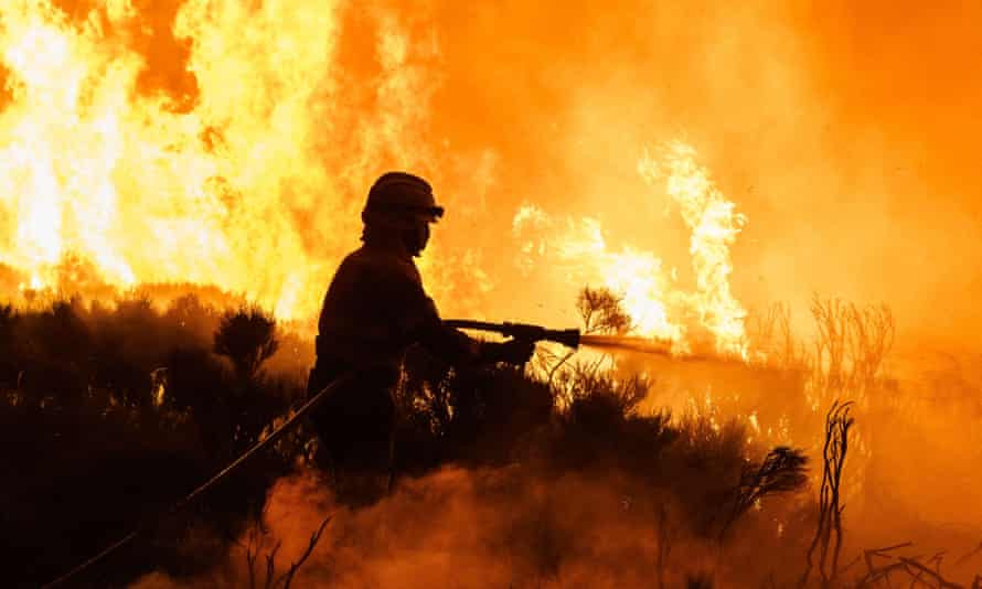 Firefighters tackle a wildfire near Avila in central Spain. The country, like much of southern Europe, has been in the grip of a record-breaking heatwave.