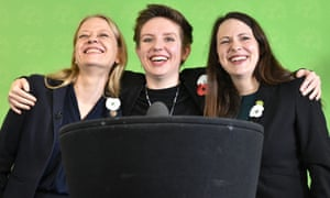 Green party co-leader Sian Berry (left), deputy leader and Candidate for Newport West Amelia Womack (right), and Bristol West candidate Carla Denyer (centre) at the launch of the party's general election manifesto in Bristol.