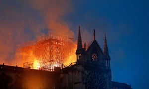A fire rages through Notre-Dame Cathedral in Paris on 16 April.