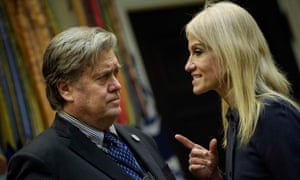 Steve Bannon with Kellyanne Conway in January.