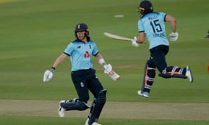 Sam Billings and David Willey gather more runs in their partnership that won the game for England.