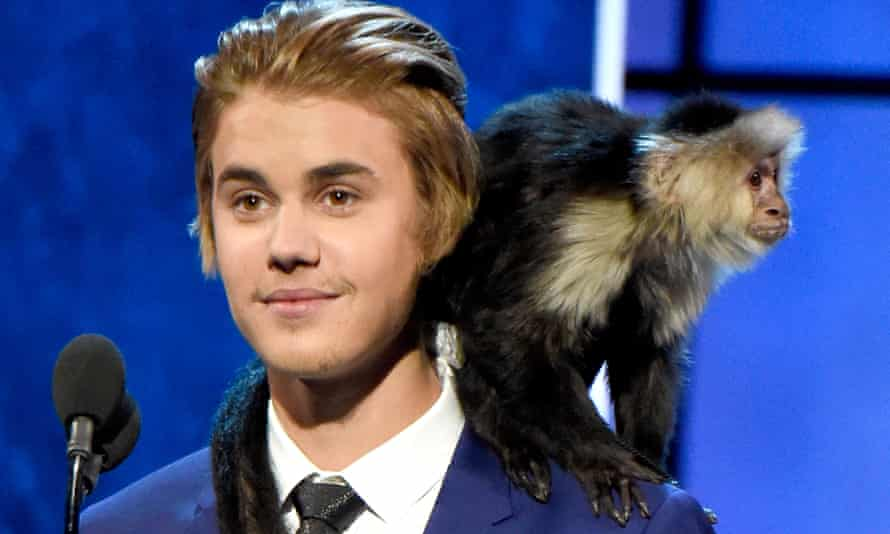 Justin Bieber on stage with a monkey last year.