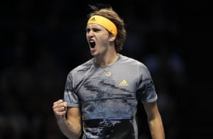 Alexander Zverev reacts after winning another point.