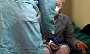 An elderly patient in hospital in Brescia, Italy.