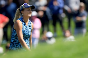 Lexi Thompson of the United States reacts to her putt on the 17th hole.