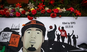A banner rests over the shrine for Alex Nieto, who was fatally shot by San Francisco police officers in March 2014, at Bernal Heights Hill, in San Francisco, California, on Saturday, March 5, 2016.