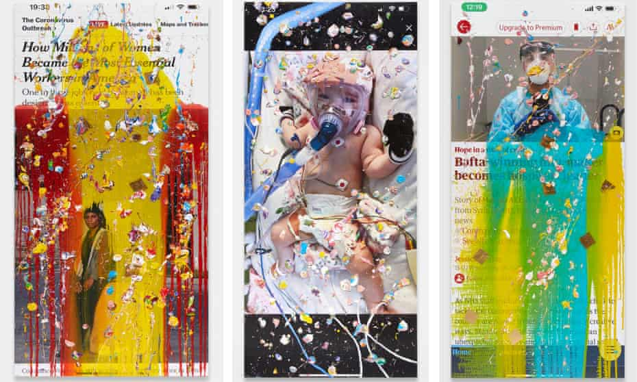 Three of Marc Quinn's 'viral paintings' featuring news stories.