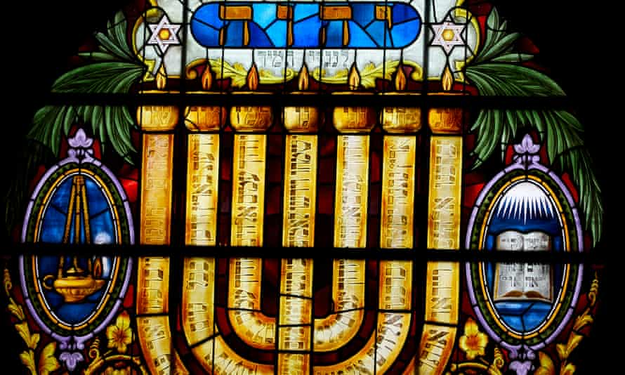 A stained glass window at Manchester Jewish Museum