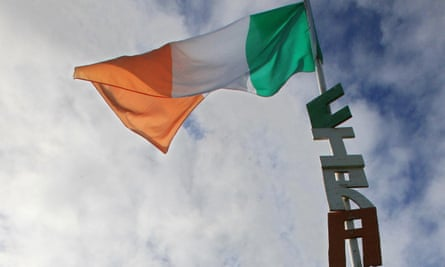 A flag pole bearing the letters CIRA (Continuity IRA) in a residential estate in Craigavon, Northern Ireland.