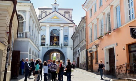 Gate of Dawn with basilica of Madonna in Vilnius