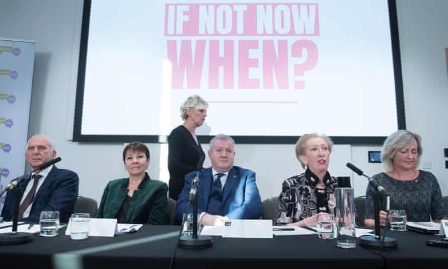 Vince Cable, Caroline Lucas, Ian Blackford, Margaret Beckett, Liz Saville Roberts and Anna Soubry (standing) at a press conference organised by the People's Vote campaign.