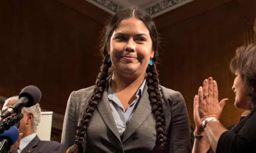 Tara Houska on Capitol Hill in 2014 for a summit on Native American mascots in the NFL. She wrote on Twitter: 'I am a Native woman. I am angry, humiliated. Your 'fun' hurt.'