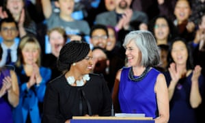 Congresswomen Ayanna Pressley and Katherine Clark during the Democratic election night celebration in Boston, Massachusetts.