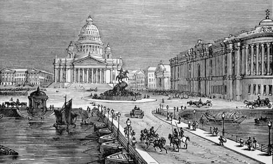 An engraving showing St Petersburg's Senate House.