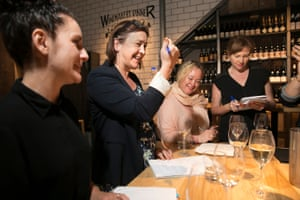 Steph Harmon, Lenore Taylor, Brigid Delaney and Gabrielle Jackson test their taste buds at the blind tasting of six sparkling wines from Australia, France, Spain and Italy.