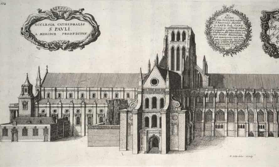 St Paul's Cathedral, 'the wonder of medieval London', as it looked before being burned down