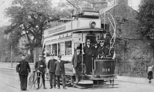The First Electric Tram From Manchester To Sale. c1904. (Photo by Past Pix/SSPL/Getty Images)