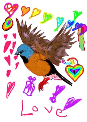 A finch surrounded by rainbow hearts